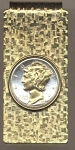2-Toned Gold on Silver U.S. Mercury silver dime - Hinged Money Clip