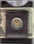 2-Toned Gold on Silver Polish 50 Zlotych Eagle with Crown - Folding Money clip