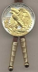 2-Toned Gold on Silver U.S. Walking Liberty Silver Half dollar reverse - Bolo-Tie