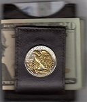 2-Toned Gold on Silver U.S. Walking/Liberty, Silver half dollar (reverse) (minted 1916 - 1947) - Folding Money clip