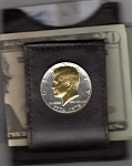 2-Toned Gold on Silver Bicentennial Kennedy half dollar (1976) - Folding Money clip