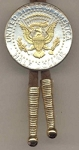 2-Toned Gold on Silver Kennedy Half dollar reverse (Eagle, banner & Stars done in Gold) - Bolo-Tie
