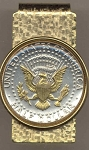 2-Toned Gold on Silver Kennedy half (reverse) (1970- date) - Hinged Money Clip