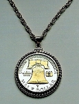 Gold on Silver Liberty Bell half dollar Coin - Necklace - Rope Bezel