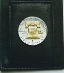 Gorgeous 2-Toned  Gold on Silver Liberty Bell half dollar coin (Folding) Money clip