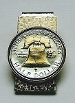 Gold on Silver Liberty Bell half dollar coin (Hinged) Money clip