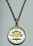 Gold on Silver Liberty Bell half dollar Coin - Necklace - Plain Bezel