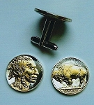 Gold on Silver Old U.S. Indian and Buffalo nickel cufflinks