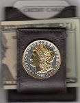 2-Toned Gold on Silver U.S. Morgan Silver dollar (Stars & rim in gold) (minted 1878 - 1921) - Folding Money clip