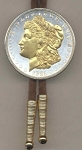 2-Toned Gold on Silver U.S. Morgan Silver dollar (1878-1921) - Bolo-Tie
