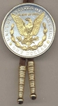 2-Toned Gold on Silver U.S. Morgan Silver dollar reverse (Eagle, wreath & In God We Trust in Gold) - Bolo-Tie