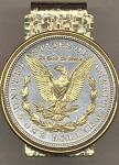 2-Toned Gold on Silver U.S. Morgan Silver dollar (reverse) (Eagle, wreath & In God We Trust in Gold) (minted 1878 - 1921) - Hinged Money Clip