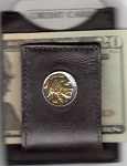 2-Toned Gold on Silver Indian head nickel (minted 1913 - 1938) - Folding Money clip