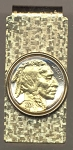 2-Toned Gold on Silver Indian head nickel (minted 1913 - 1938) - Hinged Money Clip
