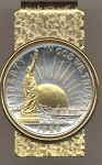 2-Toned Gold on Silver U.S. Statue of Liberty half dollar (minted 1986) - Hinged Money Clip