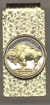 2-Toned Gold on Silver Buffalo nickel (minted 1913 - 1938) - Hinged Money Clip