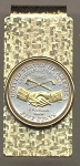 2-Toned Gold on Silver New Jefferson nickel Peace Medal 2004 - Hinged Money Clip