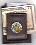2-Toned Gold on Silver New Washington Dollar coin (reverse) Statue of Liberty - Folding Money clip