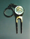 "2-Toned Gold on Silver Iceland ""dolphin"" coin-Golf ball marker, Divot, Key chain"