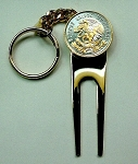 2-Toned Gold & Silver Mexican eagle  coin-Golf ball marker, Divot, Key chain