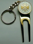 2-Toned Gold & Silver German  Eagle Coin-Golf ball marker, Divot, Key chain