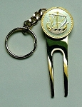 2-Toned Gold & Silver Cyprus Viking ship Coin-Golf ball marker, Divot, Key chain
