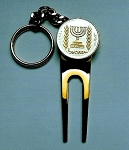 2-Toned Gold on Silver Israel  Menorah  Coin-Golf ball marker, Divot, Key chain