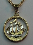 British Sailing ship - Beautifully Cut out coin, 2-toned and coin Necklace