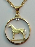 Irish Horse coin Necklace, Beautifully Cut out & 2-toned