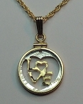 LOVE Dime - coin Necklace, Beautifully Cut out & 2-toned