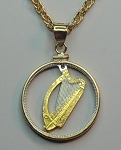 "Irish ""Harp"",  Coin Necklaces, Beautifully Cut out & 2-toned"