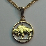 Buffalo nickel Coin- Necklace, Beautifully Cut out & 2-toned
