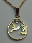 "Trinidad & Tobago ""Hummingbird"" , Coin Necklace, Beautifully Cut out & 2-toned"