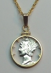 Old Silver Mercury dime Coin -Necklace, Beautifully Cut out & 2-toned