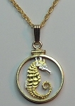 "Singapore ""Seahorse"",  Coin Necklace, Beautifully Cut out & 2-toned"