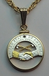 "Jefferson nickel ""Peace Medal"" - Coin Necklace, Beautifully Cut out & 2-toned"