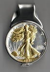 2-Toned Gold on Silver Old U.S. Walking Liberty half dollar (Spring loaded) Money clip