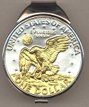 2-Toned Gold on Silver Eisenhower dollar  (Spring loaded) Money clip
