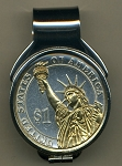2-Toned Gold on Silver New Statue of Liberty dollar coin (Spring loaded) Money clip