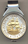 Gorgeous 2-Toned Gold on Silver South African Sailing ship coin - (Spring loaded) Money clip