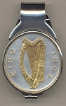 Gorgeous 2-Toned Gold on Silver Irish half dollar size Harp coin - (Spring loaded) Money clip