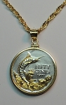 "2-Toned ""Gold on Silver"" Bahamas  ""Blue Marlin"" -  Coin Necklaces - Plain Bezel"