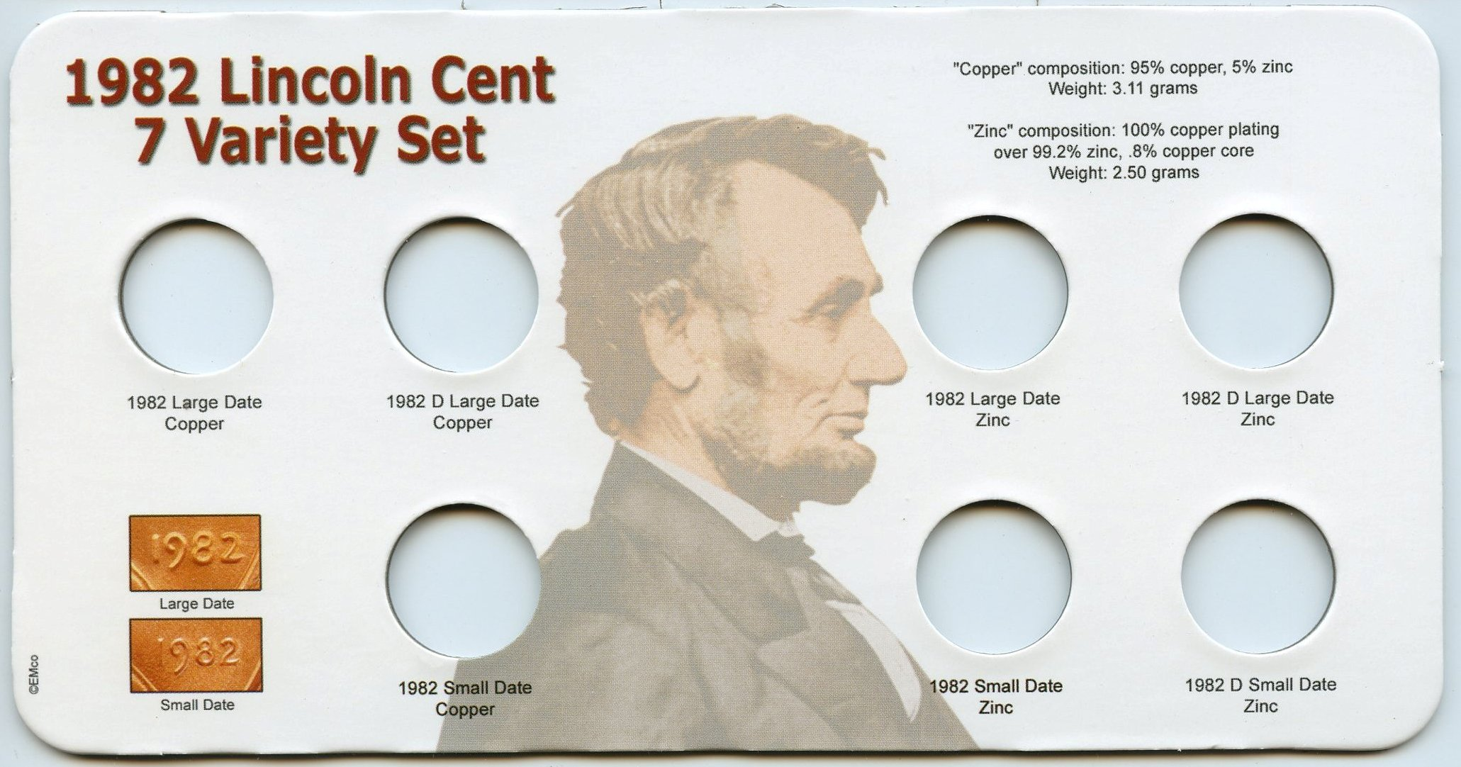 Marcus 1982 Lincoln Cent 7 Varieties Holder