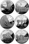 1994-W U.S. Veterans Silver Dollar 3-Coin Set Proof