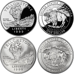 1999-P Yellowstone National Park Silver Dollar 2-Coin Set Uncirculated/Proof
