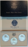 1984 P-D-S Olympic Silver Dollar  3 coin set  Uncirculated