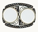 "Two Coin U.S. Silver Dollar Belt Buckle 4"" x 3"" - Silver Plated & Black Enamel - Made In USA"