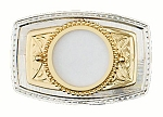 "U.S. Silver Dollar Belt Buckle 3-3/8"" x 2-1/4"" - Silver & Gold Plated - Made In USA"