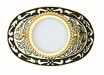 "U.S. Silver Dollar Belt Buckle 3-1/2"" x 2-1/2"" - Gold Plated & Black Enamel - Made In USA"