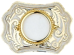 "U.S. Silver Dollar Belt Buckle 3-3/4"" x 2-3/4"" - White Enamel & Gold Plated - Made In USA"